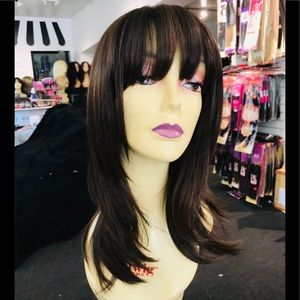 Brown highlights wig bangs 14in Layers 2019 style